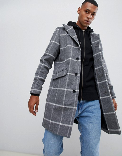 Image 1 of Only & Sons stand collar wool overcoat in grid check