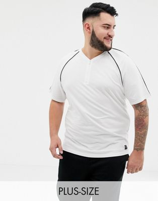 Only & Sons t-shirt with zip neck in white pique