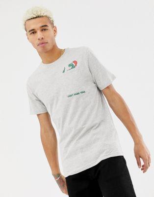 Only & Sons – Weihnachts-T-Shirt mit Tasche mit Dinosauriergrafik