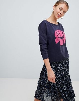 Only - Terry -  Sweatshirt met girl power print