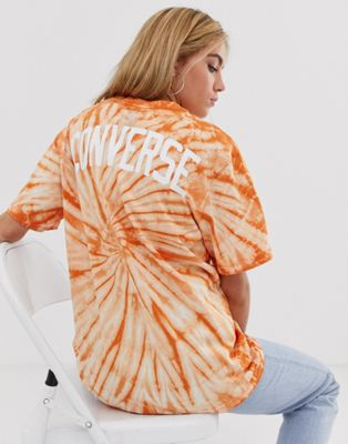 Оранжевая футболка с принтом тай-дай Converse