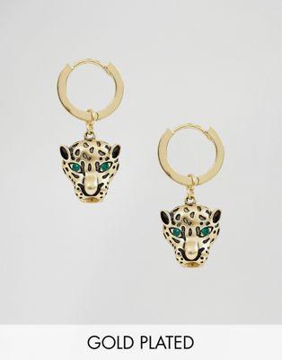 Orelia - Créoles plaquées or avec pendentif léopard