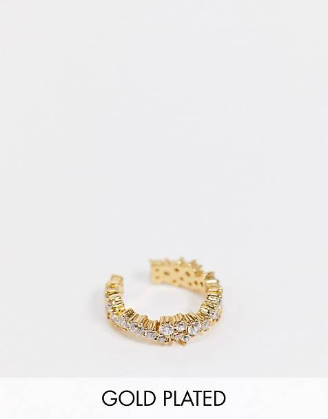 Orelia ear cuff in crystal cluster gold plate