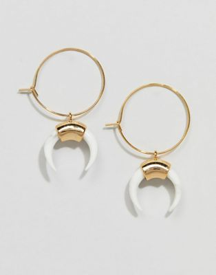 Image 1 of Orelia Gold Hoop Cresent Earrings