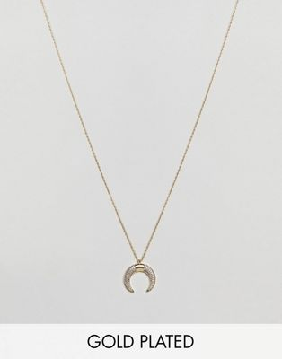 Orelia Gold Plated Crystal Crescent Short Necklace