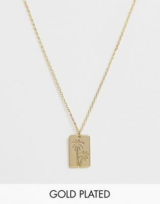 Image 1 of Orelia gold plated embossed palm tag necklace