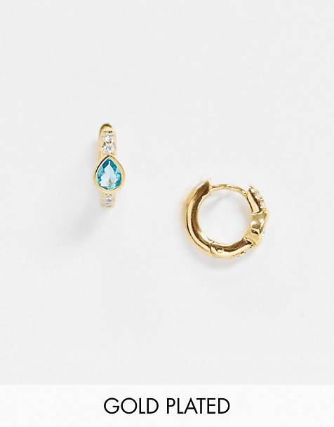 Orelia huggie hoop earrings with teardrop gem drop in gold plate