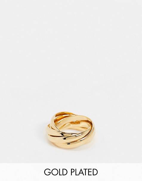 Orelia interlocking russian rings in gold plate