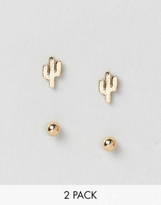 Örhängen i nylon med kaktus och nitar