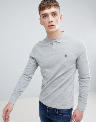 Original Penguin Raised Rib Pique Polo Long Sleeve Slim Fit in Grey Marl