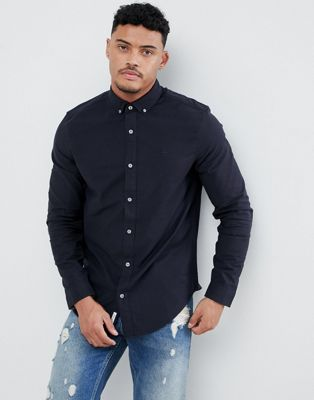 Original Penguin Slim Fit Button Down Collar Oxford Shirt With Tonal Logo in Navy