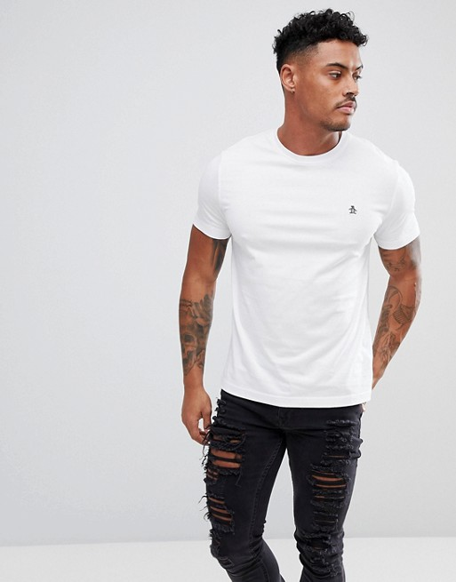 Original Penguin - Slim-fit T-shirt met klein logo, in wit