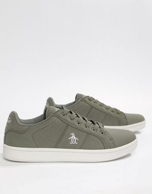 Original Penguin Stedaman Canvas Trainers In Grey