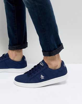 Original Penguin Stedaman Canvas Trainers In Navy