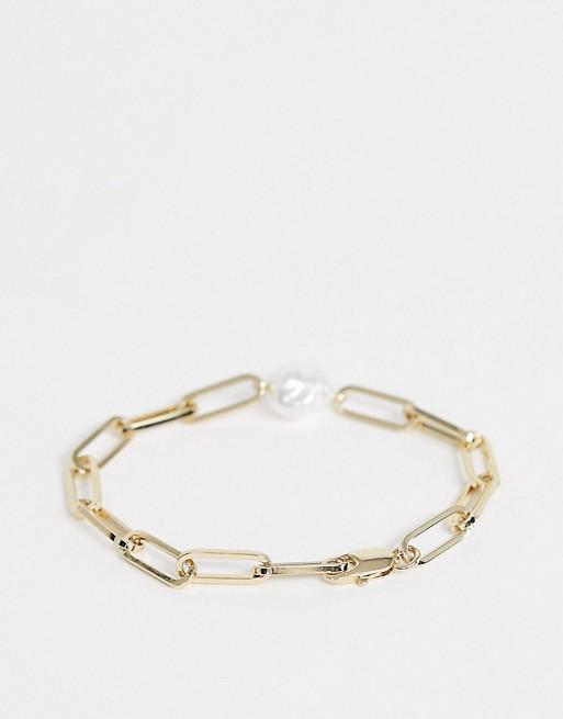 & Other Stories - Bracelet chaîne et perle - Doré