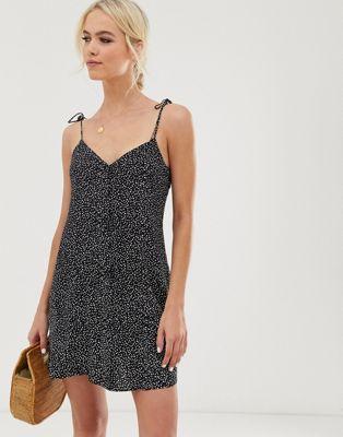 & Other Stories – Czarna sukienka mini na ramiączkach z nadrukiem w kropki