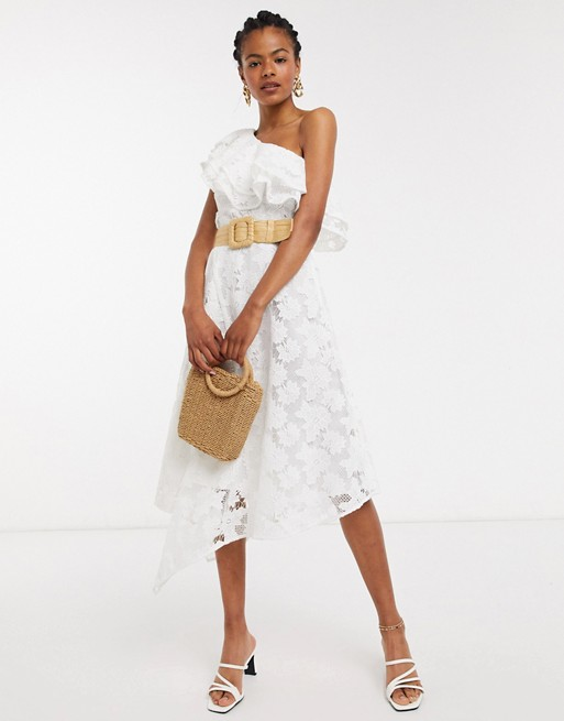 & Other Stories Embroidered Floral One Shoulder Ruffle Dress In Off White