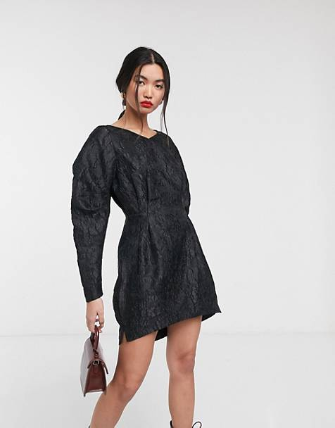 & Other Stories jacquard bold sleeve mini dress in black
