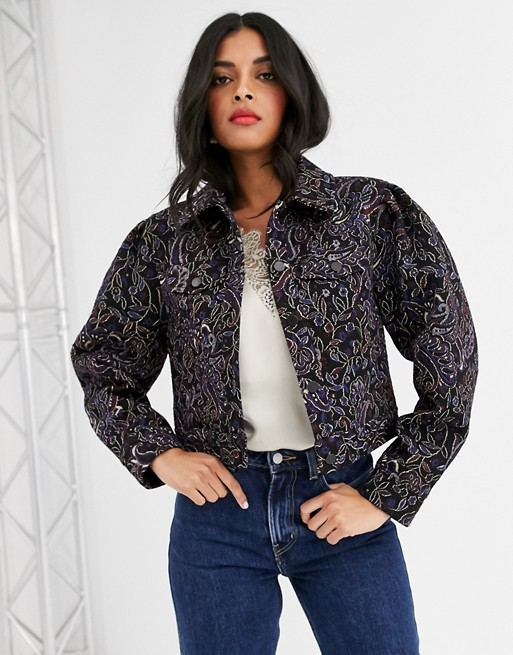 & Other Stories jacquard co-ord cropped jacket in navy