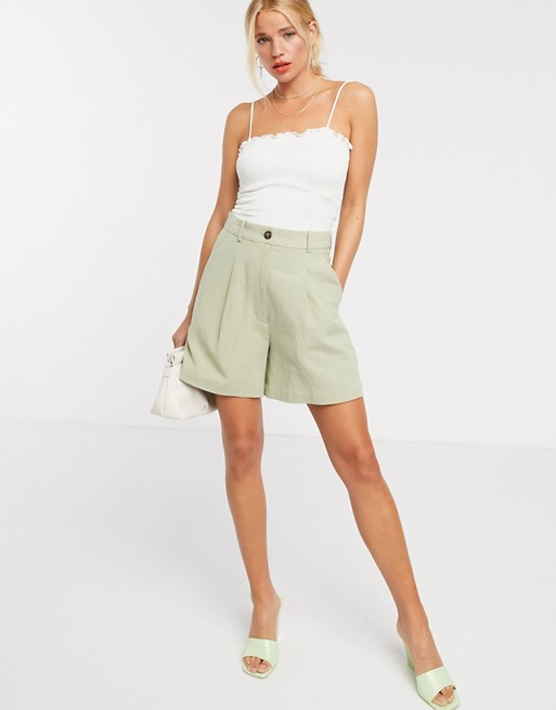 & Other Stories linen bermuda shorts in khaki