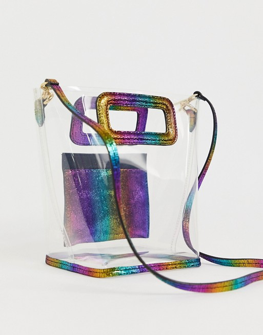 & Other Stories - Mini tote bag transparent avec motif arc-en-ciel