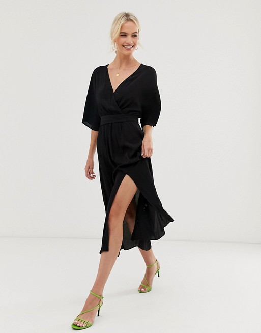 & Other Stories V-neck midi wrap dress with front slit in black