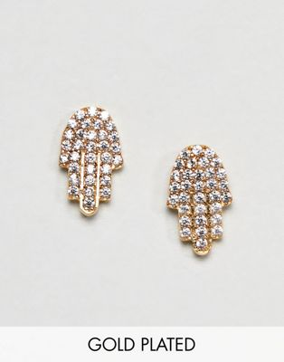 Ottoman Hands Gold Plated Diamante Hamsa Hand Stud Earrings