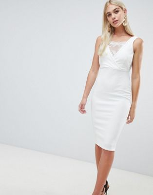 Outrageous Fortune bodycon dress with lace inserts in ivory