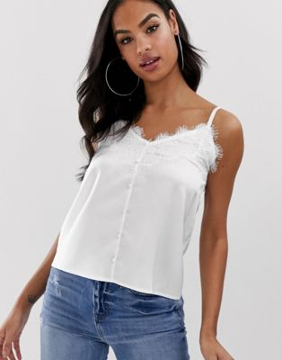 Outrageous Fortune lace trim cami with button detail in white