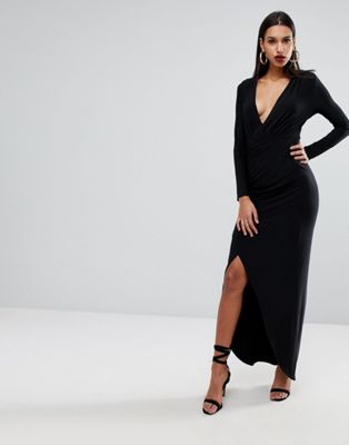 Outrageous Fortune Plunge Front Wrapover Maxi Dress
