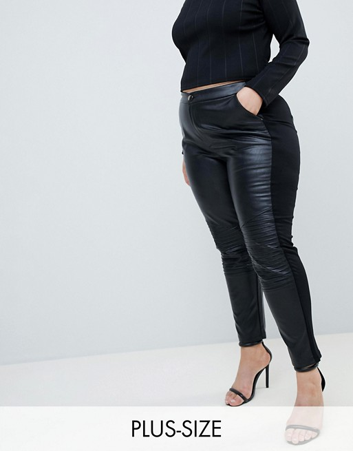 3e32aad3ce Outrageous Fortune Plus | Outrageous Fortune plus leather look trouser in  black