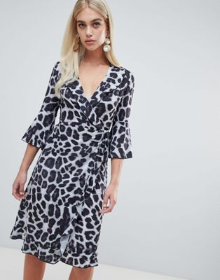 Image 1 of Outrageous Fortune ruffle wrap midi dress with fluted sleeve in mono leopard
