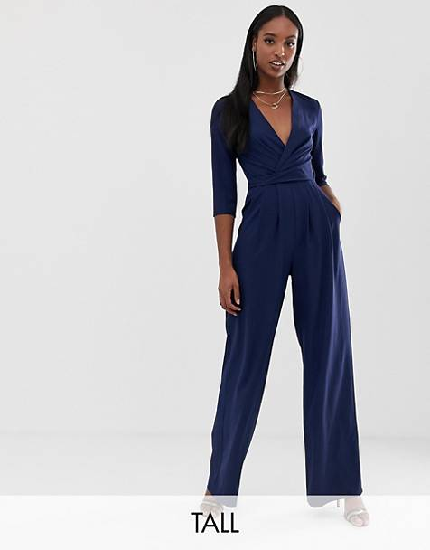 c77c8966154 Outrageous Fortune Tall plunge front jumpsuit in navy