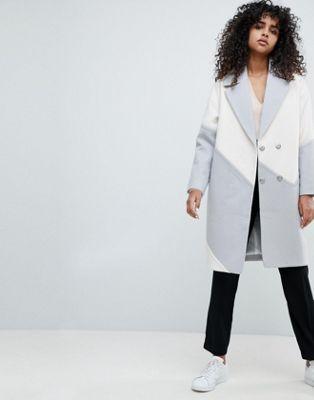 Oversize-пальто колор блок ASOS