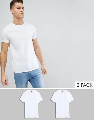 Pack de 2 camisetas con cuello redondo de ASOS DESIGN, AHORRA
