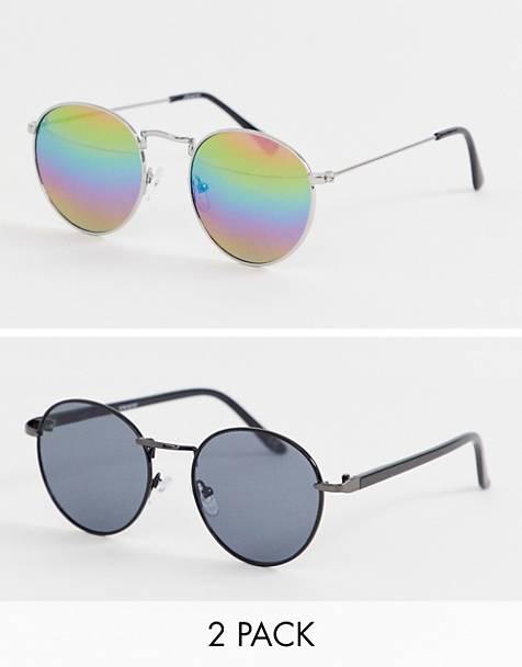 83cc59e67f Pack de 2 gafas de sol redondas plateadas con lentes de espejo y gris  oscuro con