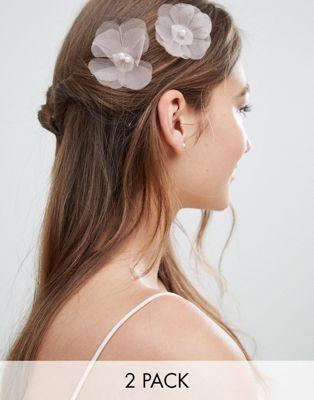 Pack de 2 horquillas con flores y perlas para ocasiones especiales de ASOS DESIGN