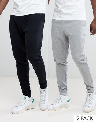 Pack de 2 joggers tapered en gris marga/negro de ASOS, AHORRA