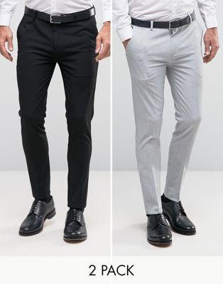 Pack de 2 pantalones de vestir de corte súper ajustado en negro y gris claro de ASOS, AHORRA