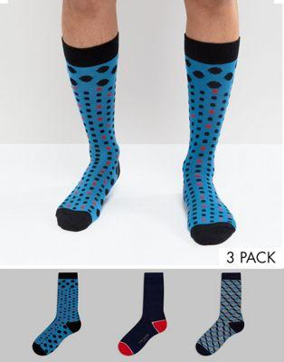 Pack de 3 pares de calcetines en caja de regalo de Ted Baker