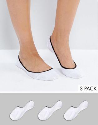 Pack de 3 pares de calcetines en color pop con borde en contraste de ASOS
