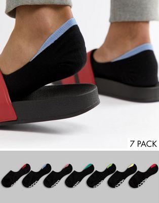 Pack de 7 pares de calcetines invisibles con planta con la marca y lengüetas traseras en contraste de ASOS DESIGN