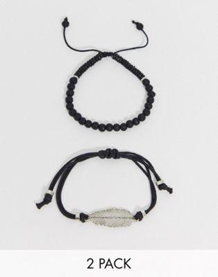 Imagen 1 de Pack de pulseras en negro con cuentas y plumas de ASOS DESIGN
