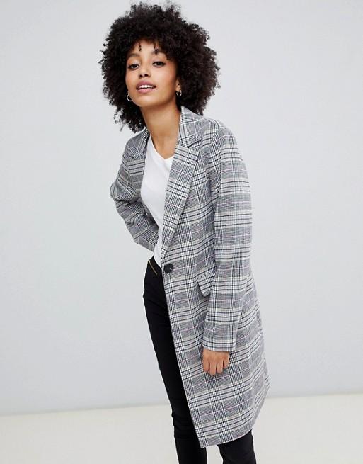 Пальто в комбинированную клетку New Look