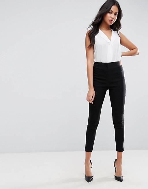 Pantalones ajustados con cintura de talle alto de ASOS DESIGN