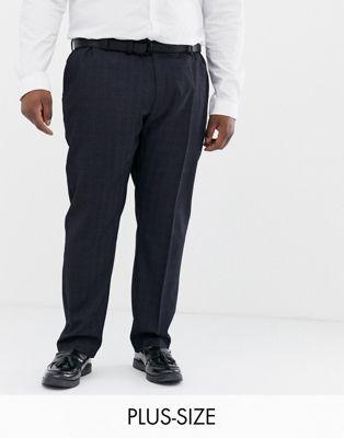 Pantalones azul marino a cuadros Big & Tall de Burton Menswear