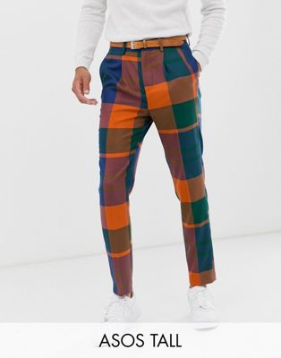Vestir Cuadros Asos Tall De En Azul Design Pantalones Capri Extragrandes Tapered A wOXTlPkuZi