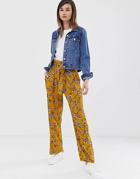 2e75d6a065372 Pantalones con cinturilla paperbag y estampado floral Elva de Only