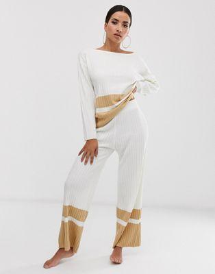 Pantalones Confort De Punto Rayas Bajo Asos Design Pernera Con Ancha A 0wvNm8nO