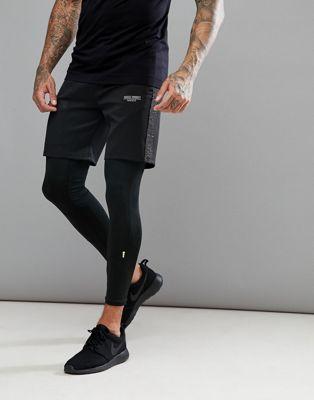 Pantalones cortos ajustados en negro con panel jaspeado reflectante de Muscle Monkey
